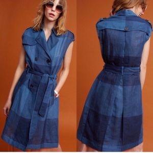 Anthro Eva Franco Navy Checkered Trench Dress